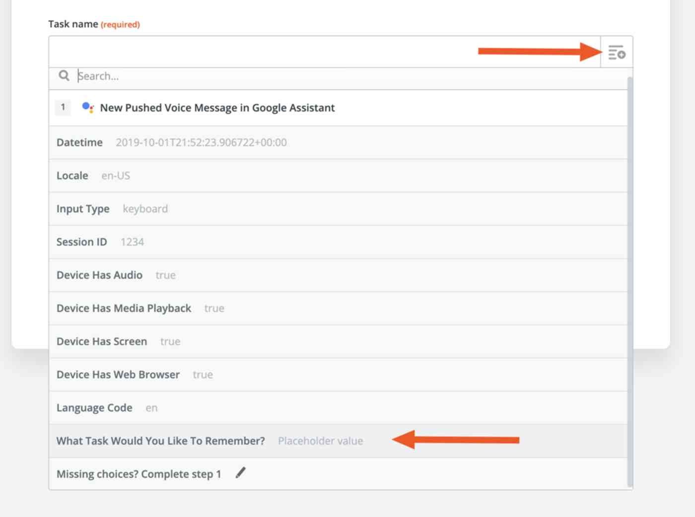 Using Fields in Zapier to pull in Google Assistant responses