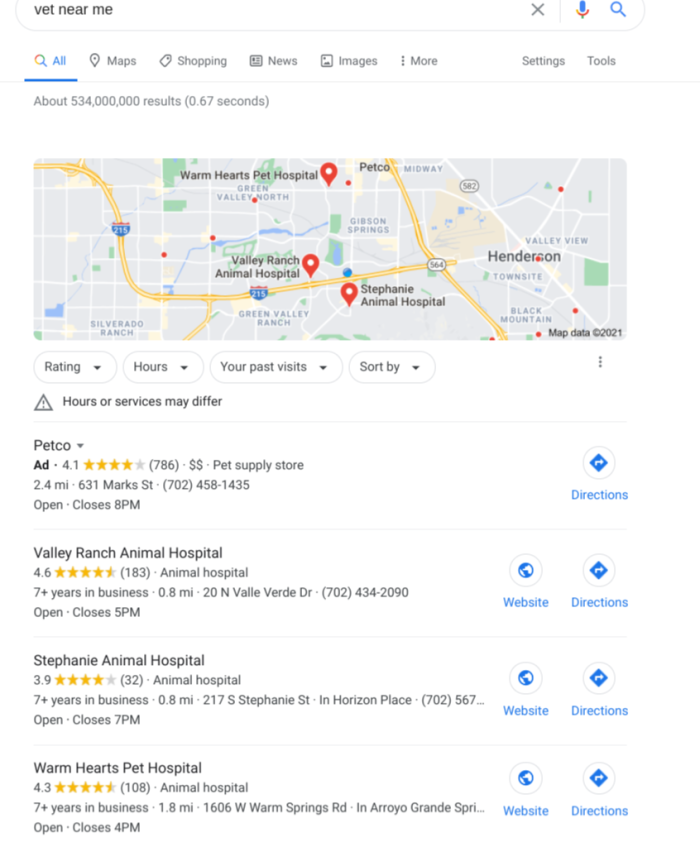 """The Google results for """"vet near me"""" with Google Maps and a few businesses listed below"""
