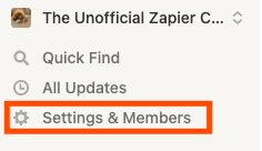 A red box highlights the Settings & Members menu item in Notion.