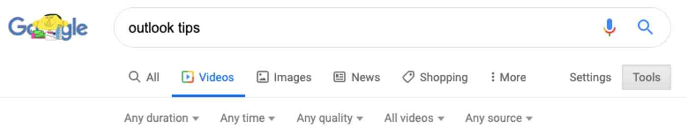 Google Video Search filters