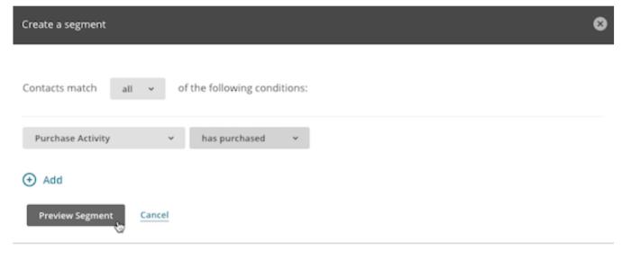 Past purchase segment in Mailchimp