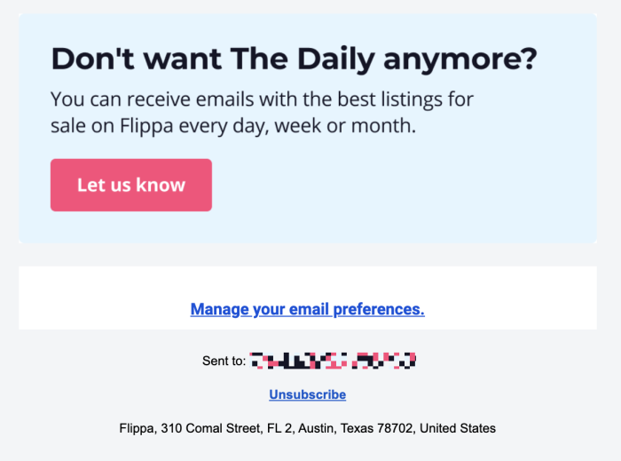 The unsubscribe option from Flippa at the bottom of an email