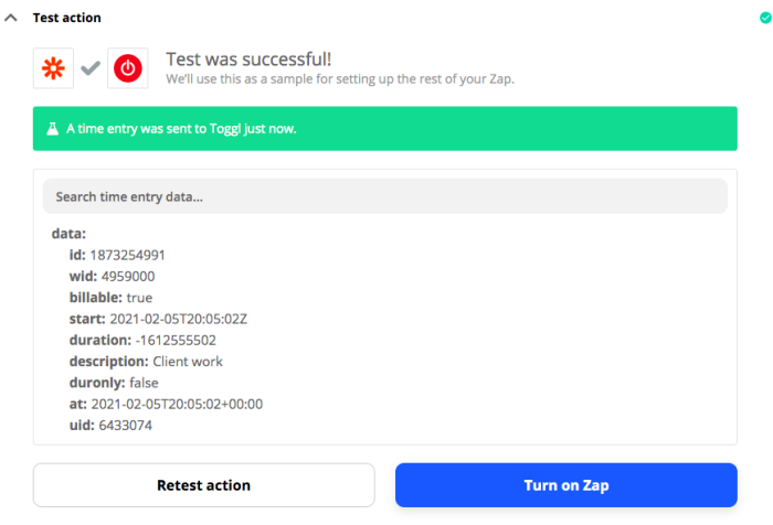 Test was successful! A time entry was sent to Toggl just now.