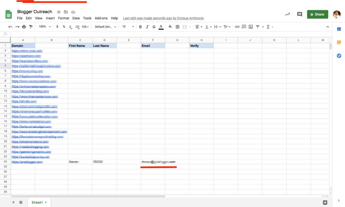 A spreadsheet showing columns for domains, first name and last name, with new data showing in the column for email address.
