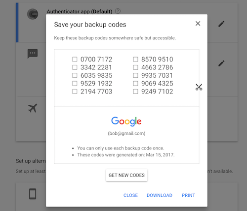 Google two-factor backup codes