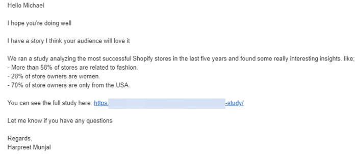 An example of a successful pitch email