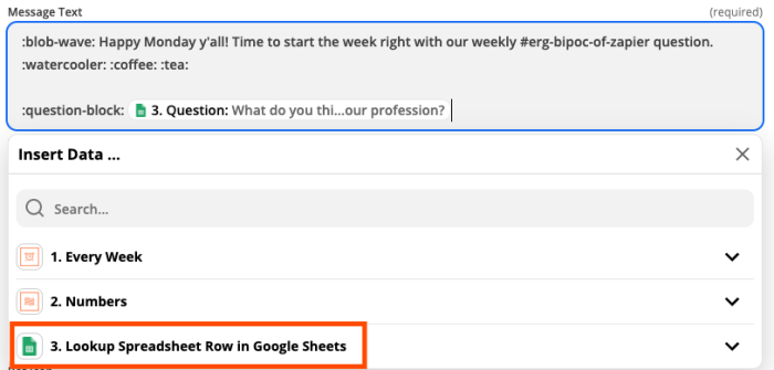 The customize Slack message step in the Zap editor. A red box highlights the Google Sheets search step in a dropdown menu.