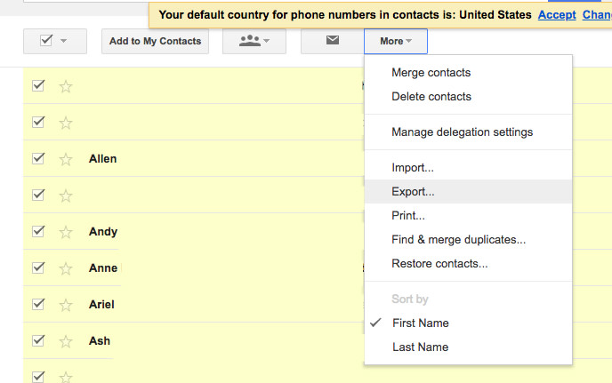 Exporting Google Contacts
