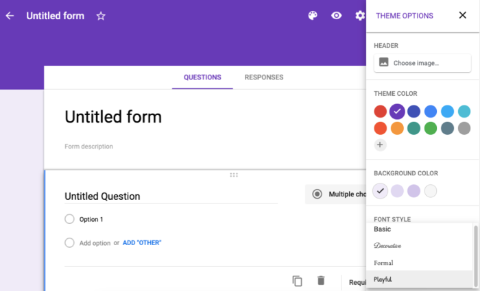 Google Forms design and customization options