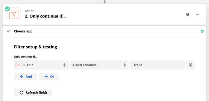 "A Filter step in Zapier showing fields for setup and testing, including the condition to filter by ""Title,"" the restriction ""(Text) Contains"", and the specific text to look for ""Trello."""