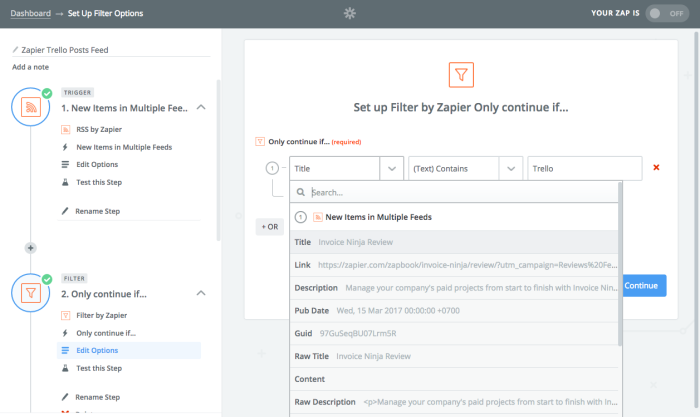 Add filter to RSS feed in Zapier