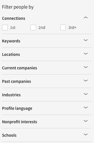 LinkedIn search filter example