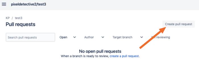 Create pull request button
