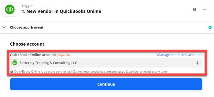 Choose Quickbooks Online account