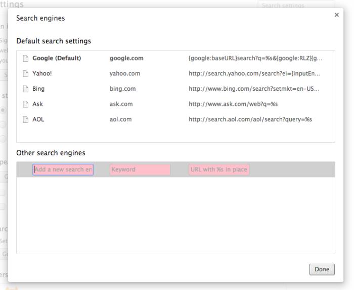 Omnibox custom search engine