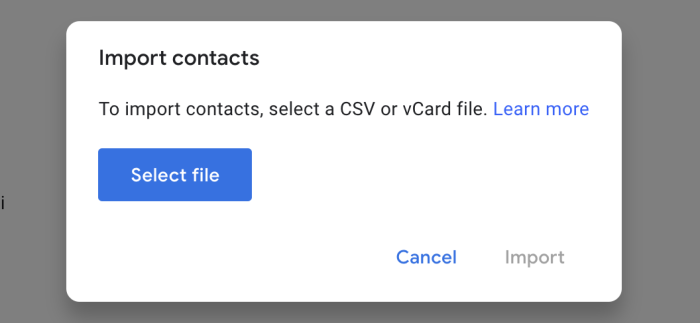 Google Contacts import options