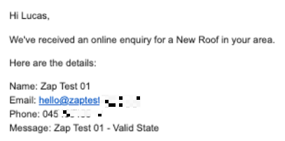 Example email sent connecting roof installer to client