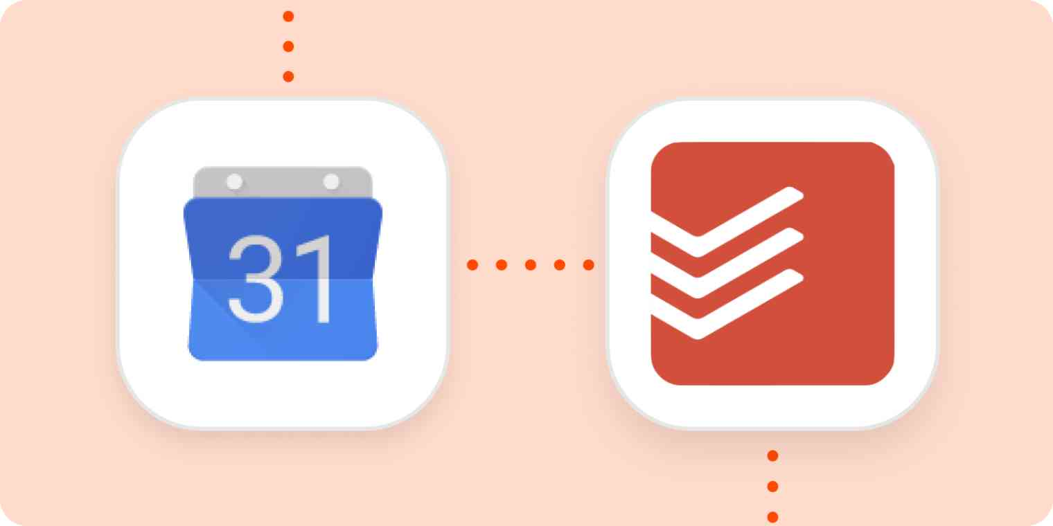 The Google Calendar and Todoist logos in white squares on an orange background