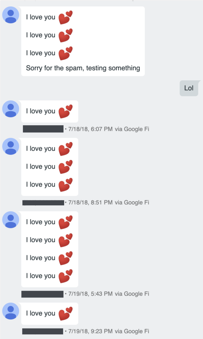 Numerous texts that say I love you, complete with heart emoji