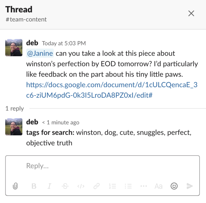 An example of using tags for search