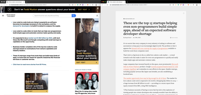 Reader Mode in action