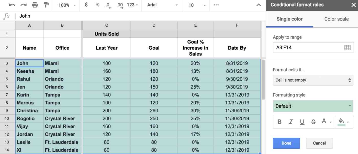 Conditional formatting toolbar