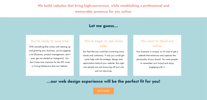 An example of the copy on Hedy's website services page that speaks directly to her target audience