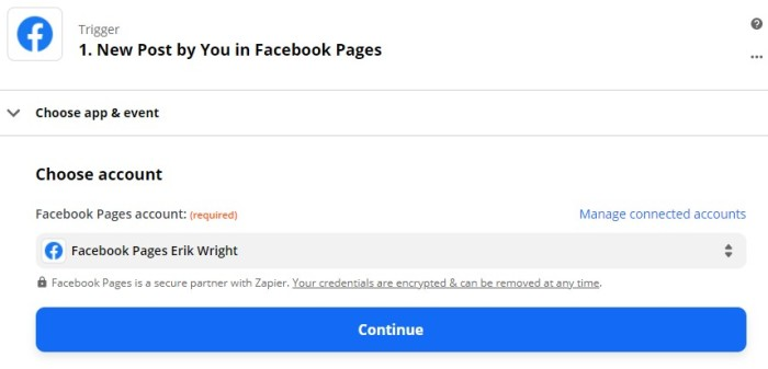 """How to choose your Facebook Pages account in Zapier. In this screenshot, """"Facebook Pages Erik Wright"""" has been selected from a dropdown menu."""