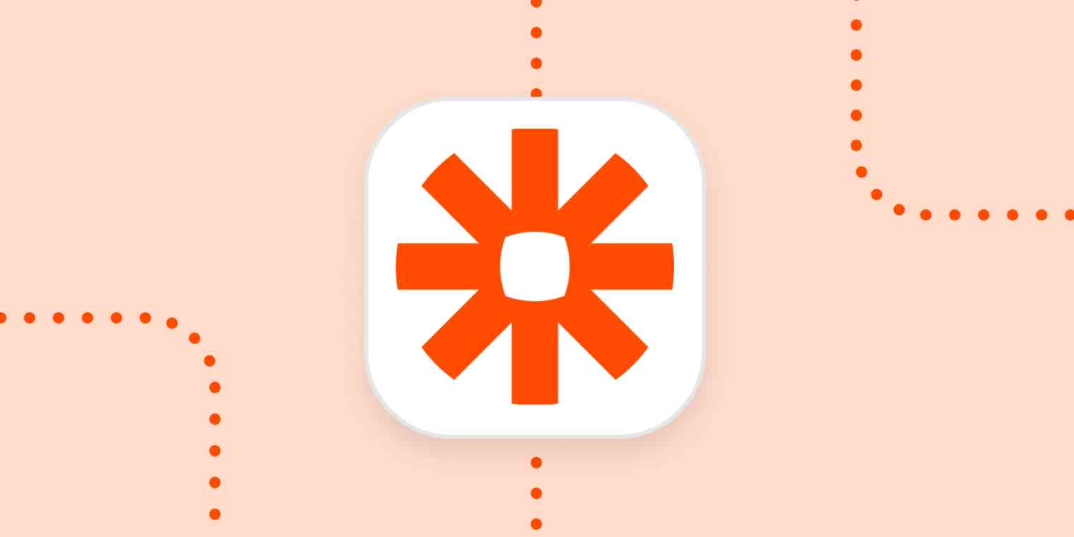 The Zapier logo in a white square on an orange background.