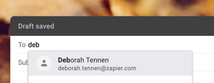 Al escribir una dirección de correo electrónico en Gmail