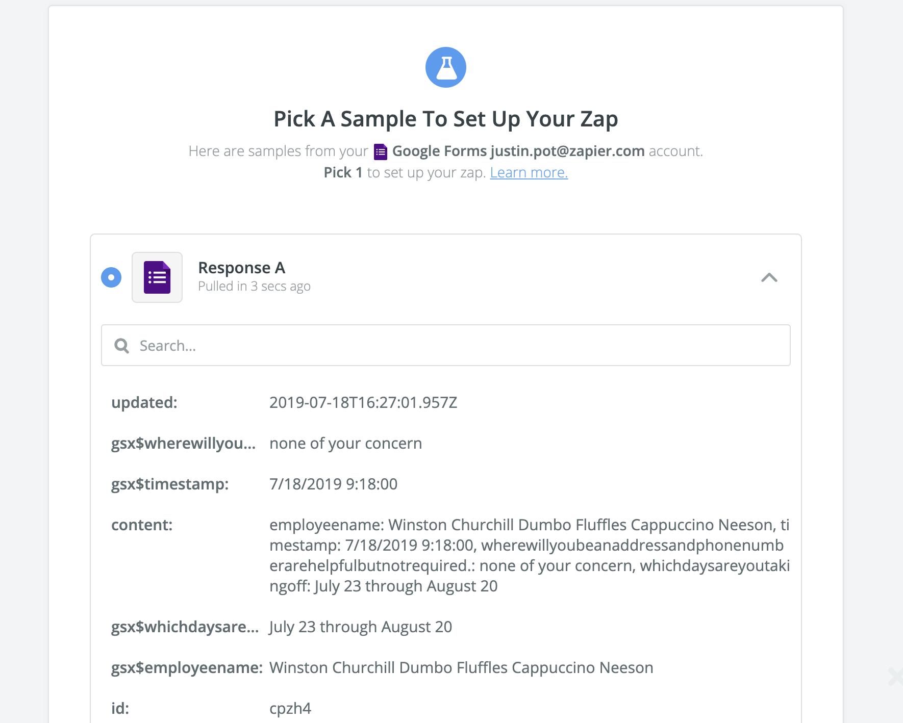 Pull in sample data