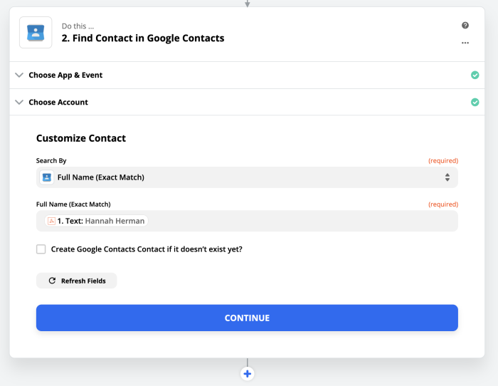Google Contact search