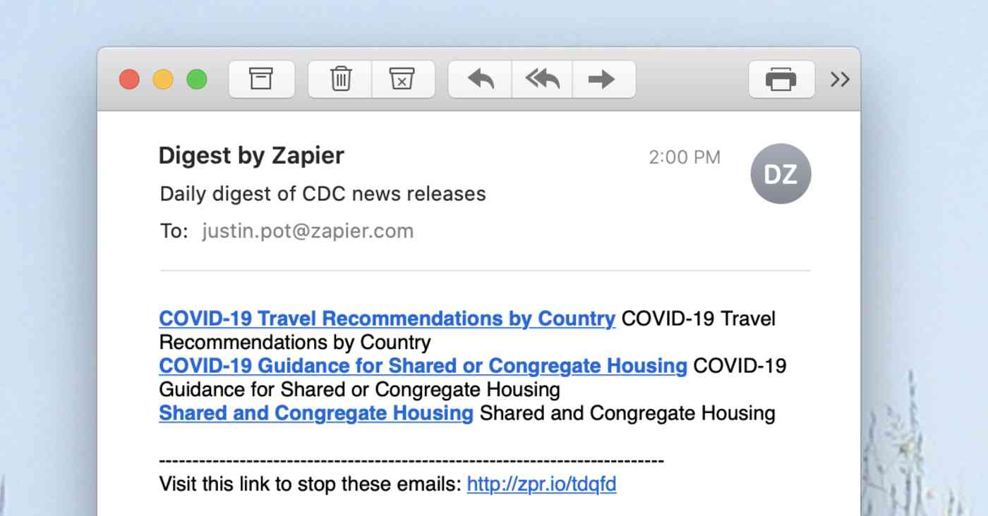 CDC headlines in one email