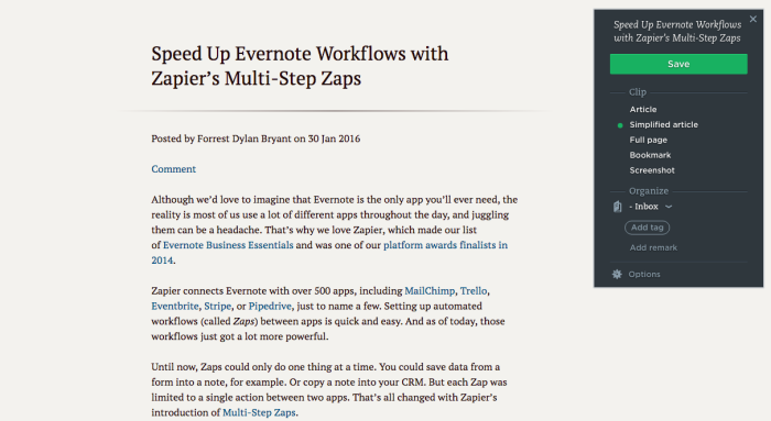 Evernote Web Clipper: Simplified