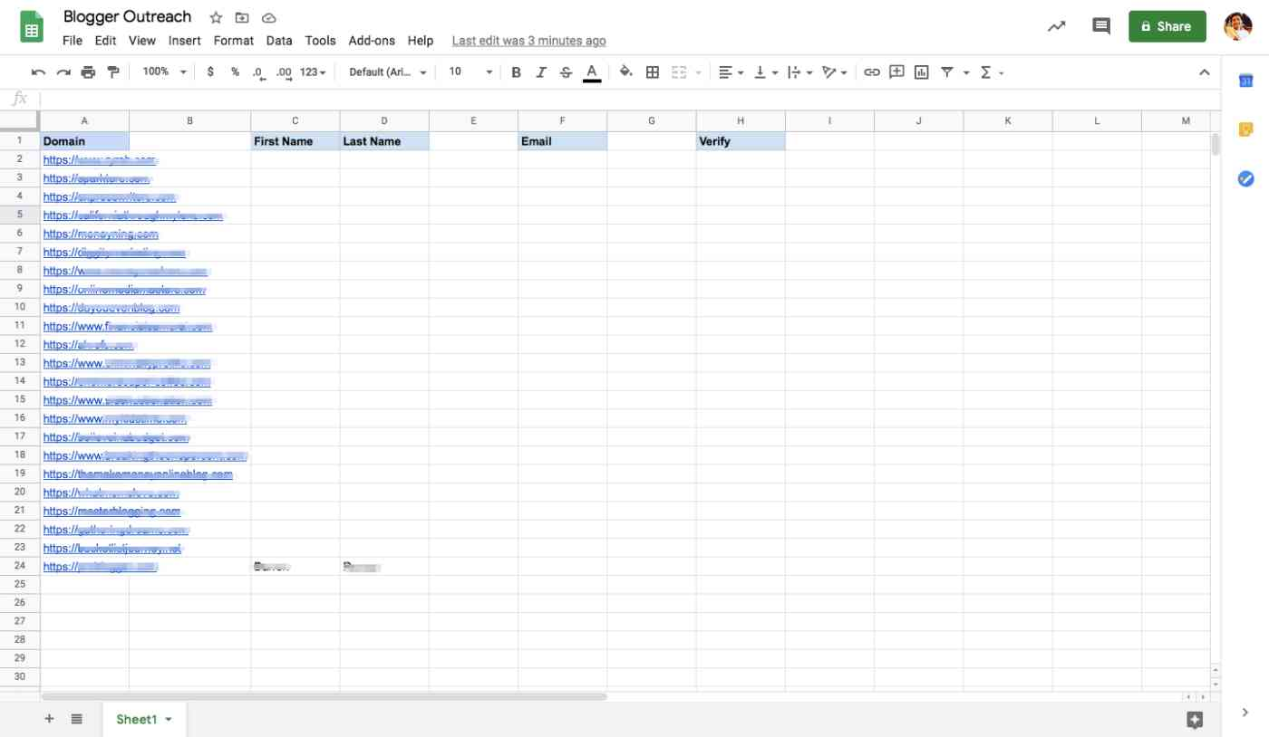 A Google Sheet with columns for domain, first name, last name, email, and verify.