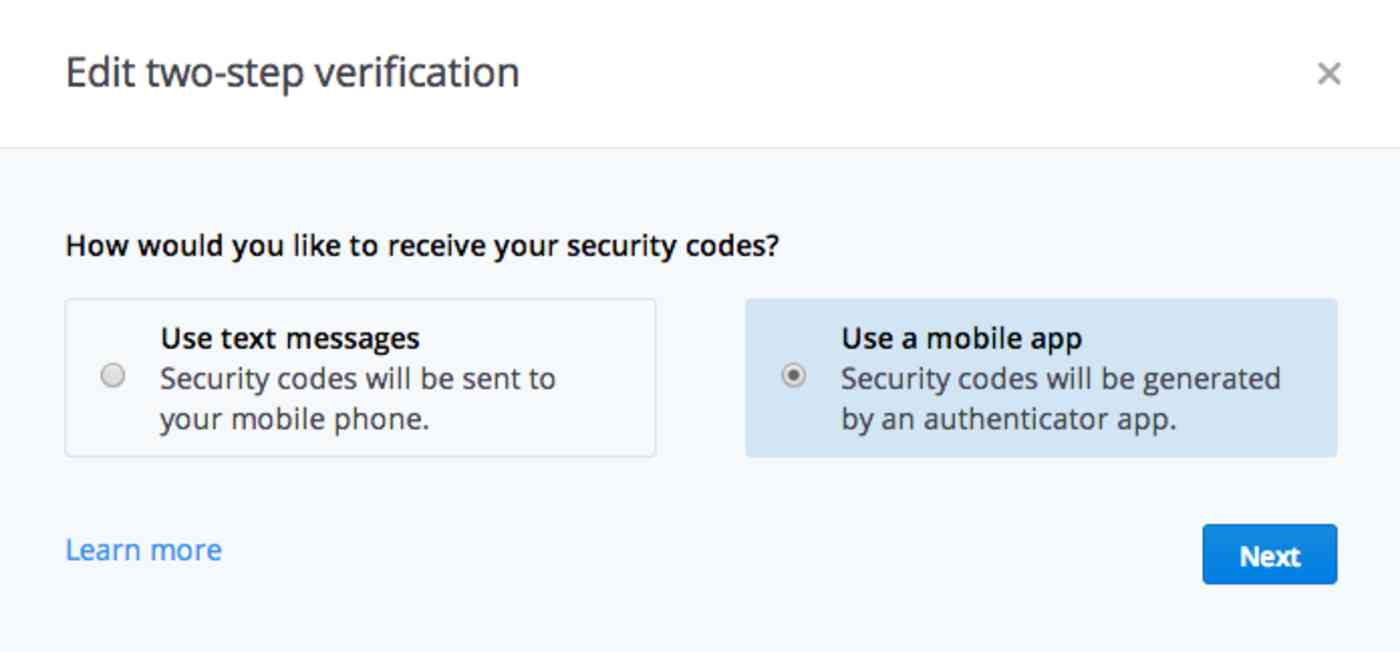 Dropbox Two-Factor Authentication
