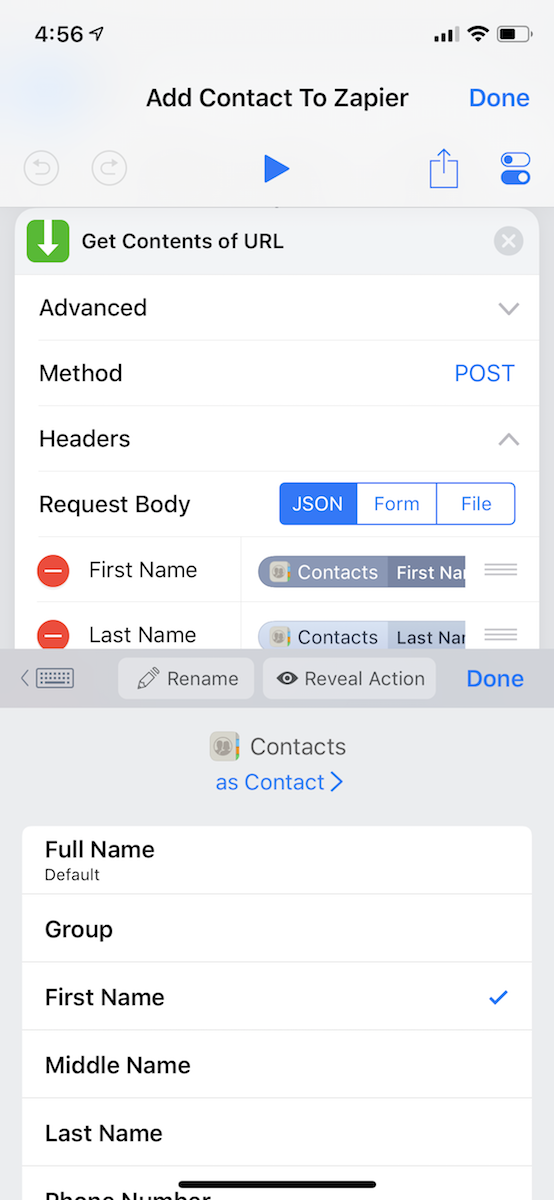 Add Get Contents of URL for Zapier iOS Shortcuts