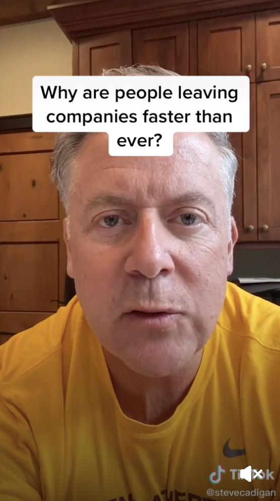 A screenshot of a TikTok from Steve Cadigan