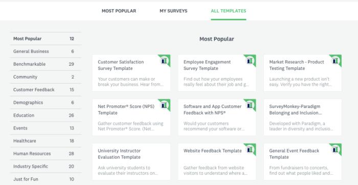 SurveyMonkey survey templates