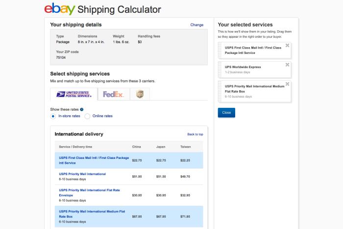 Calculadora de envío de eBay