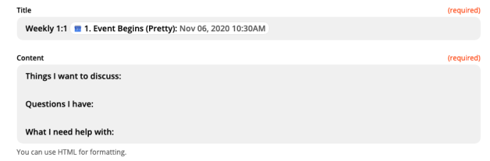 A screenshot of the Customize Note step in the Zap editor. Topics for a manager meeting are typed in the Content field.