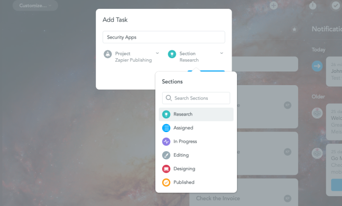Add a task from the dashboard