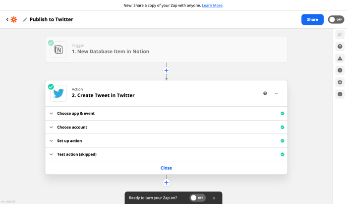 A screenshot of the Zapier editor as you set up a Tweet from Notion.