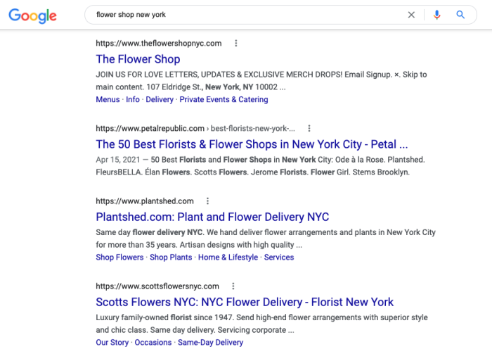 """A Google search for """"flower shop new york"""""""