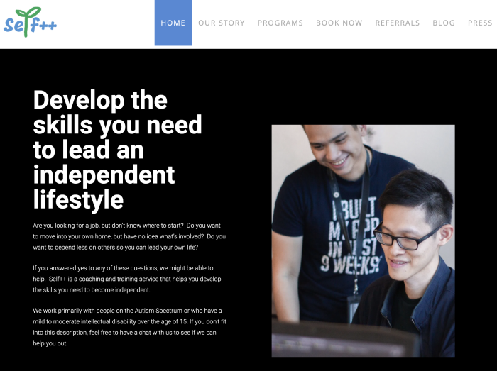A screenshot of the Self++ homepage