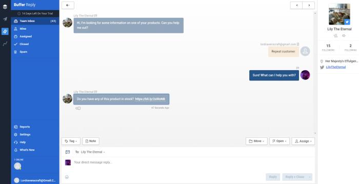 Screenshot of Buffer reply