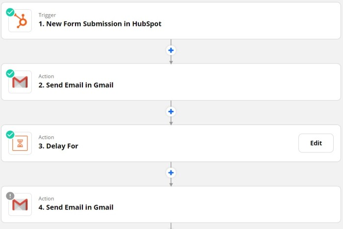 Zap set-up page for sending an email based on a new submission in Hubspot.