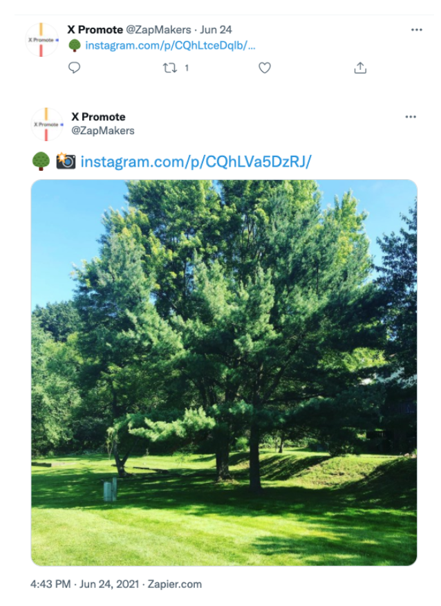 Screenshots of two Tweets from X Promote (@ZapMakers), the first shows an emoji of a tree followed by an Instagram hyperlink. The second shows an emoji of a tree and a camera, the Instagram link, and a large, square photo of a tree.