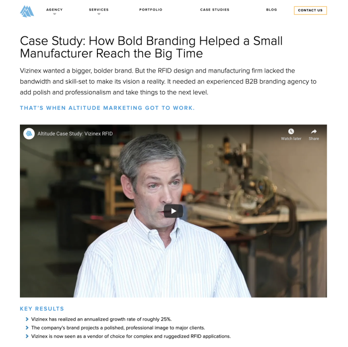 A screenshot of a case study from Altitude Marketing