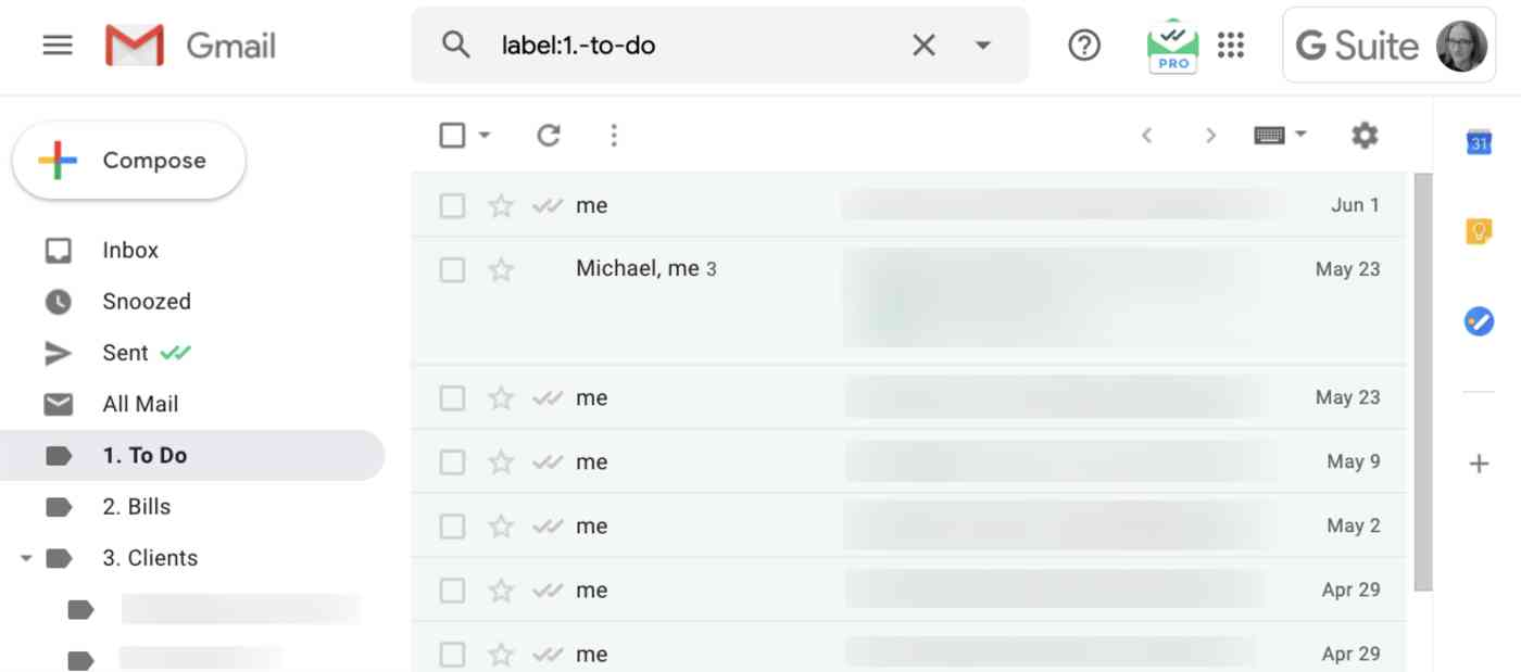 to-do folder in Gmail